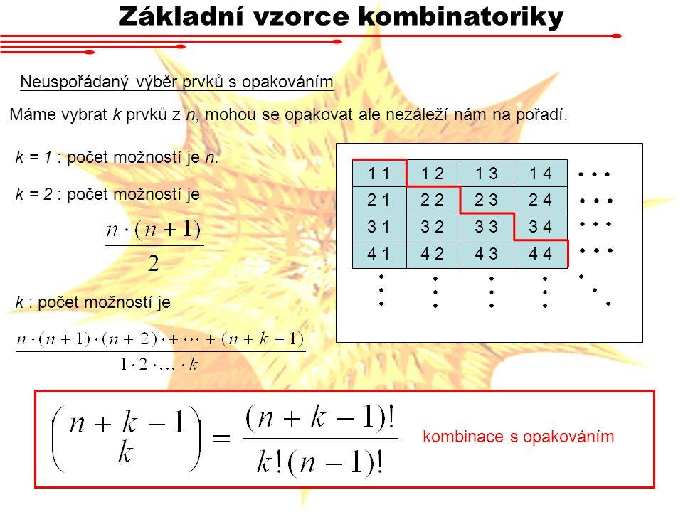 Základní vzorce kombinatoriky
