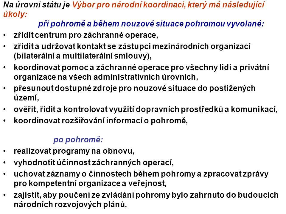 Na úrovni státu je Výbor pro národní koordinaci, který má následující