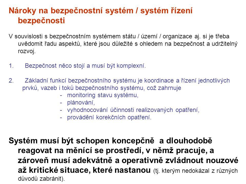 Nároky na bezpečnostní systém / systém řízení bezpečnosti