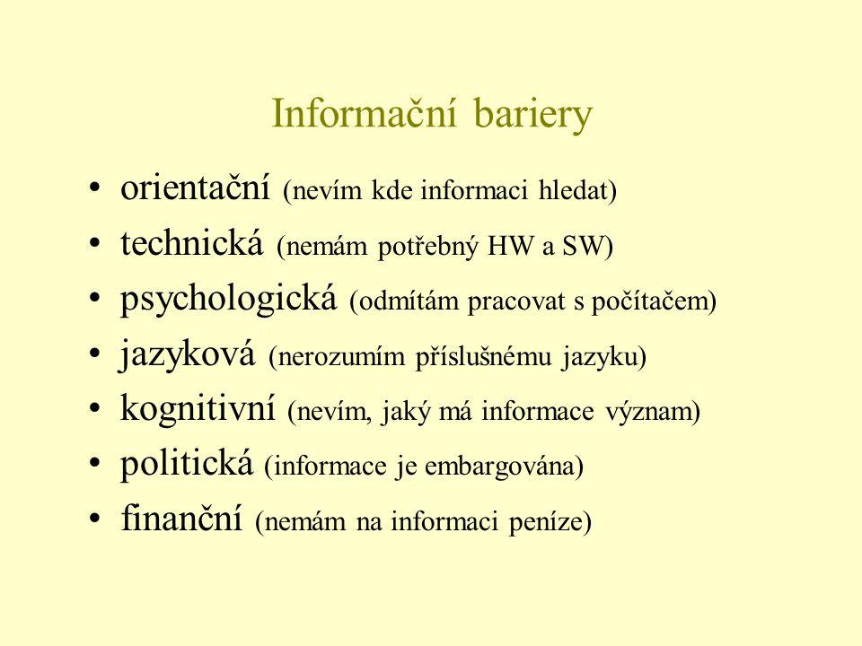 Informační bariery orientační (nevím kde informaci hledat)