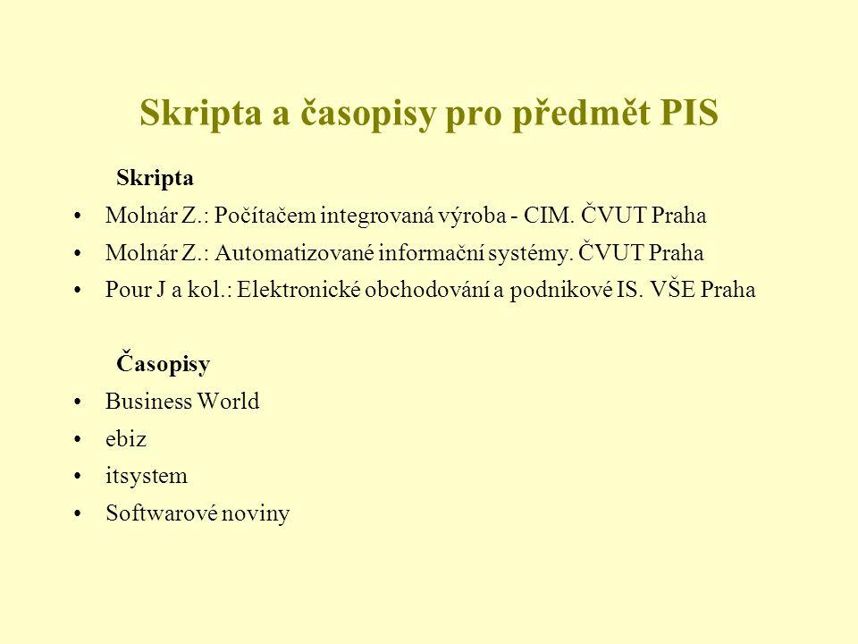 Skripta a časopisy pro předmět PIS