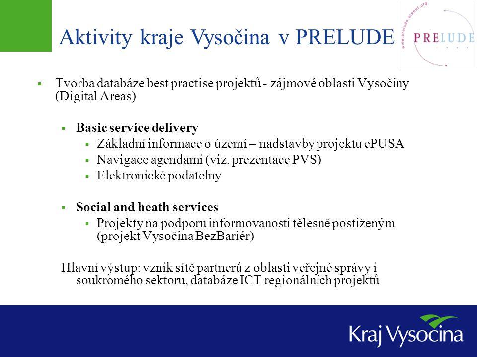 Aktivity kraje Vysočina v PRELUDE