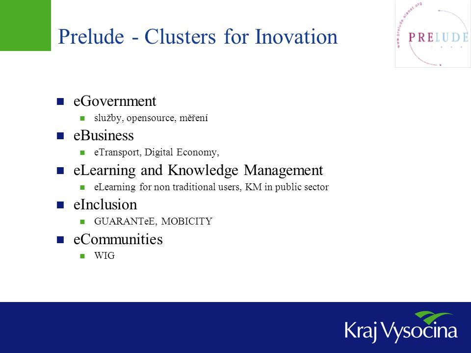 Prelude - Clusters for Inovation
