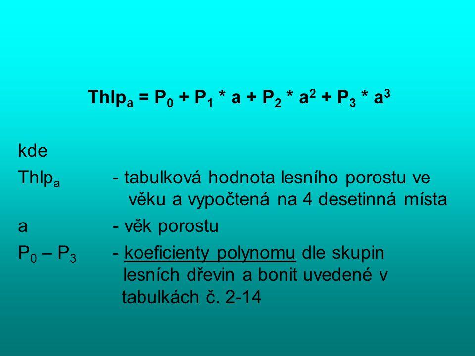 Thlpa = P0 + P1 * a + P2 * a2 + P3 * a3 kde. Thlpa - tabulková hodnota lesního porostu ve věku a vypočtená na 4 desetinná místa.