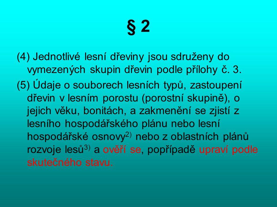 § 2 (4) Jednotlivé lesní dřeviny jsou sdruženy do vymezených skupin dřevin podle přílohy č. 3.