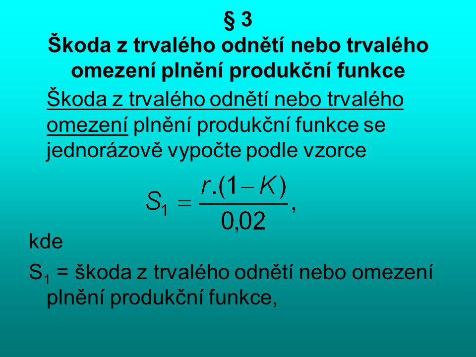§ 3 Škoda z trvalého odnětí nebo trvalého omezení plnění produkční funkce