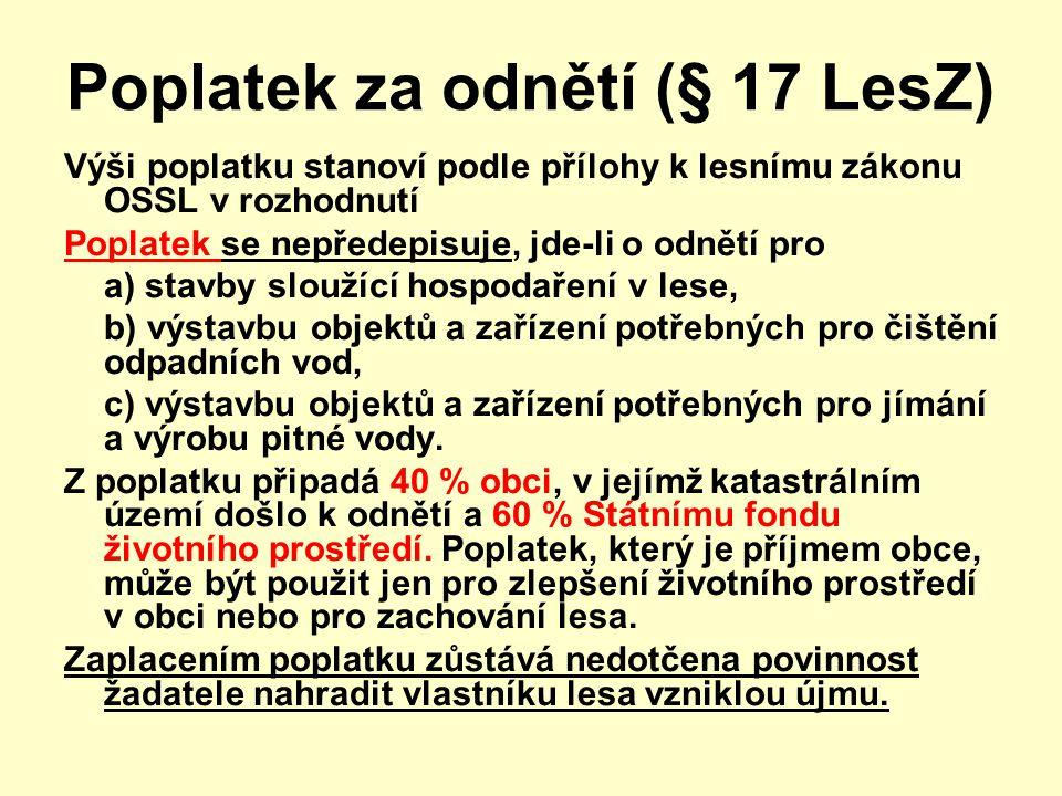 Poplatek za odnětí (§ 17 LesZ)