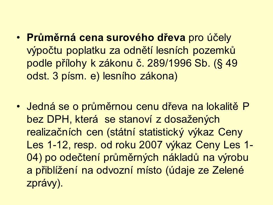 Průměrná cena surového dřeva pro účely výpočtu poplatku za odnětí lesních pozemků podle přílohy k zákonu č. 289/1996 Sb. (§ 49 odst. 3 písm. e) lesního zákona)