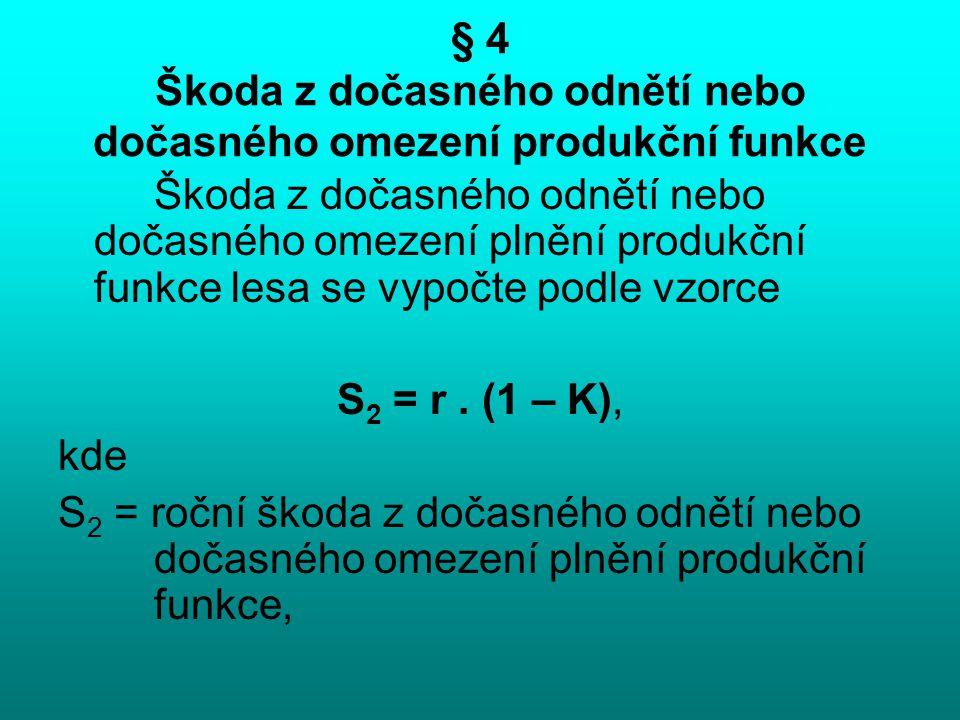 § 4 Škoda z dočasného odnětí nebo dočasného omezení produkční funkce