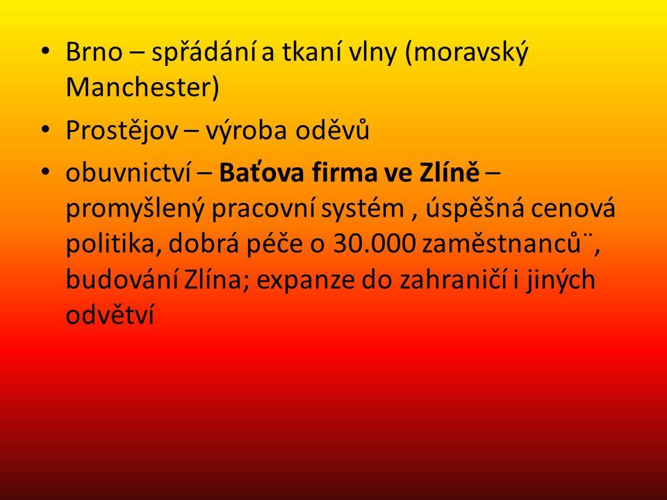 Brno – spřádání a tkaní vlny (moravský Manchester)
