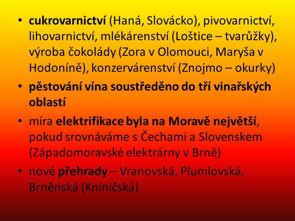 cukrovarnictví (Haná, Slovácko), pivovarnictví, lihovarnictví, mlékárenství (Loštice – tvarůžky), výroba čokolády (Zora v Olomouci, Maryša v Hodoníně), konzervárenství (Znojmo – okurky)