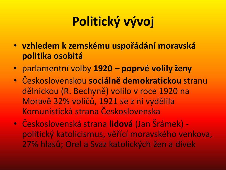 Politický vývoj vzhledem k zemskému uspořádání moravská politika osobitá. parlamentní volby 1920 – poprvé volily ženy.