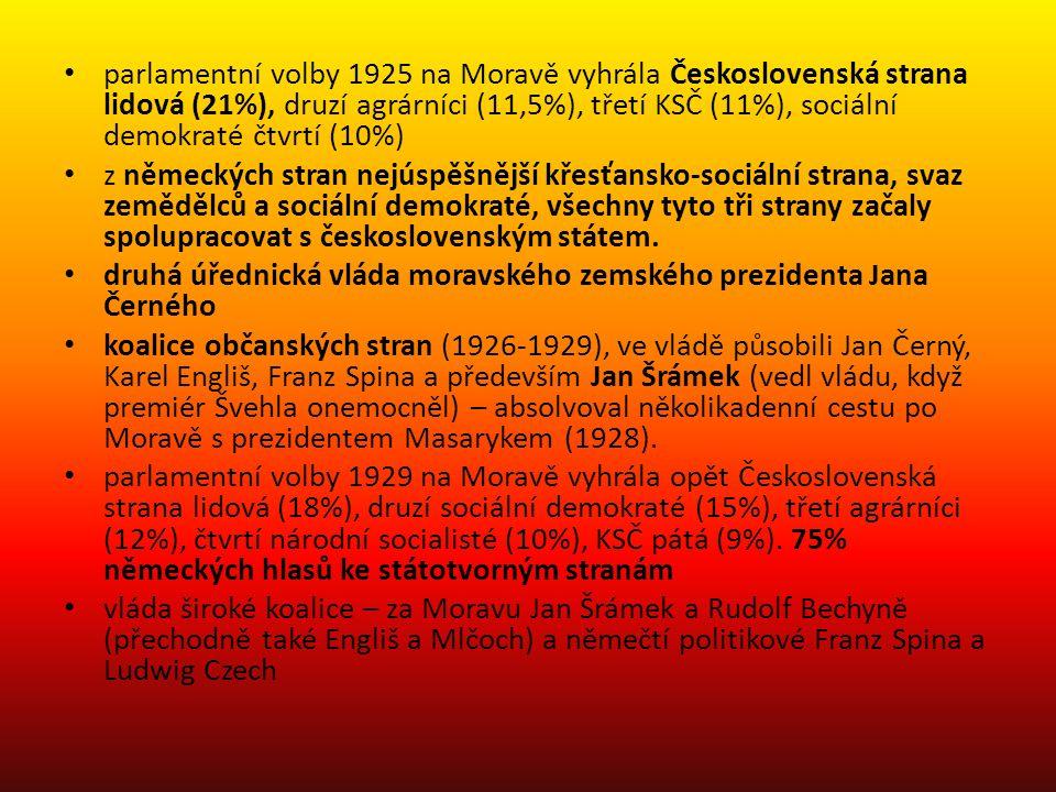 parlamentní volby 1925 na Moravě vyhrála Československá strana lidová (21%), druzí agrárníci (11,5%), třetí KSČ (11%), sociální demokraté čtvrtí (10%)