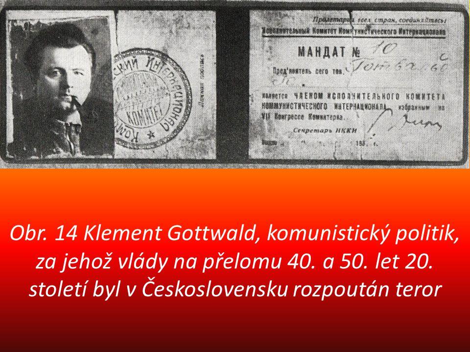 Obr. 14 Klement Gottwald, komunistický politik, za jehož vlády na přelomu 40.