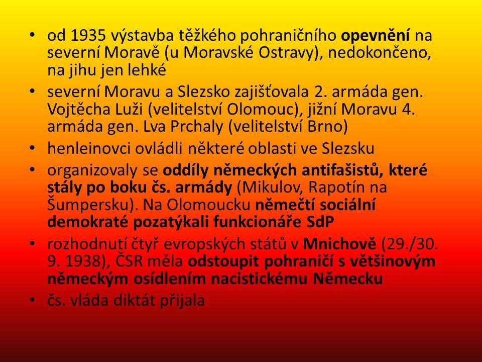 od 1935 výstavba těžkého pohraničního opevnění na severní Moravě (u Moravské Ostravy), nedokončeno, na jihu jen lehké