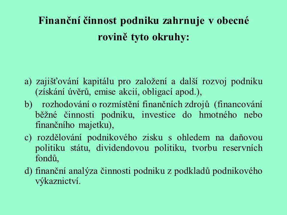 Finanční činnost podniku zahrnuje v obecné rovině tyto okruhy: