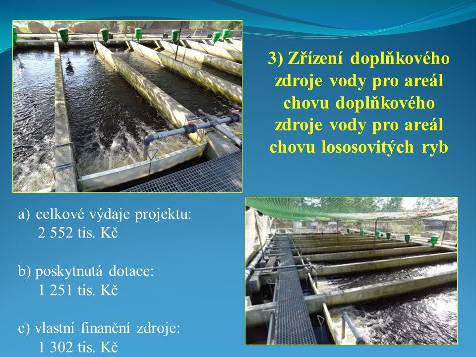 3) Zřízení doplňkového zdroje vody pro areál chovu doplňkového zdroje vody pro areál chovu lososovitých ryb