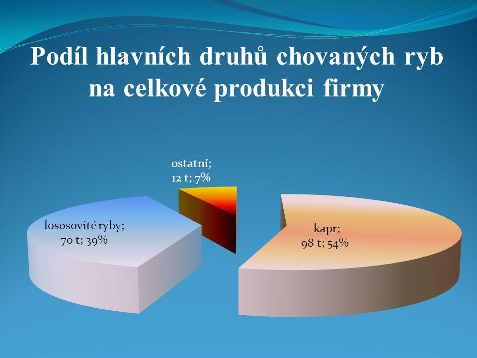 Podíl hlavních druhů chovaných ryb na celkové produkci firmy