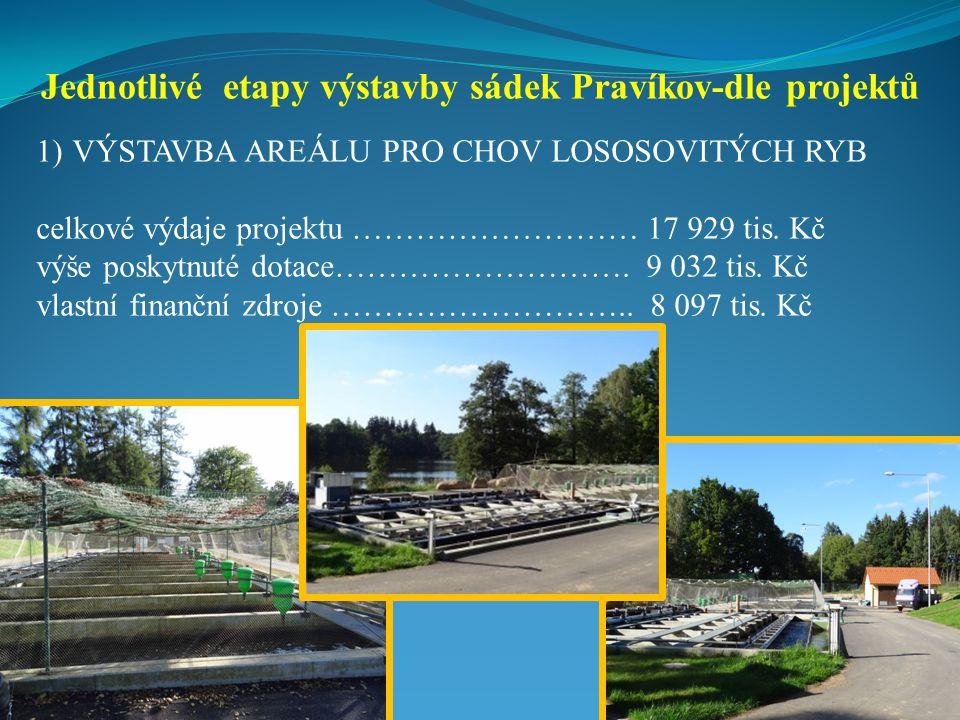 Jednotlivé etapy výstavby sádek Pravíkov-dle projektů
