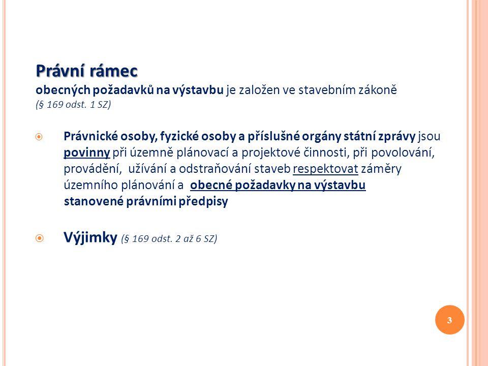 Právní rámec Výjimky (§ 169 odst. 2 až 6 SZ)
