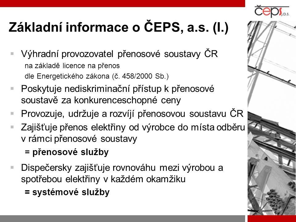 Základní informace o ČEPS, a.s. (I.)