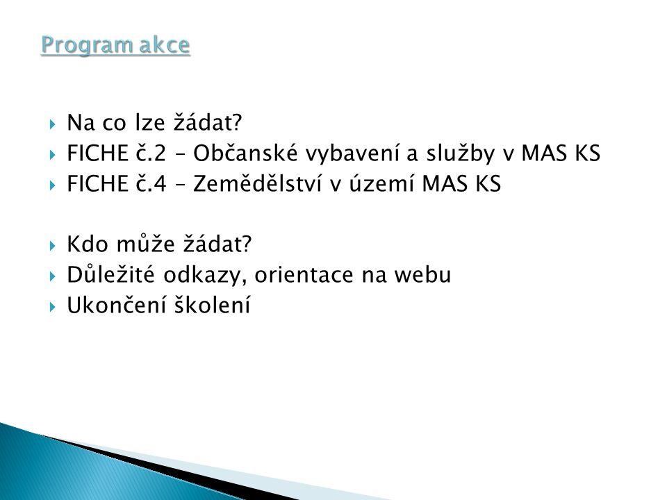 Program akce Na co lze žádat FICHE č.2 – Občanské vybavení a služby v MAS KS. FICHE č.4 – Zemědělství v území MAS KS.