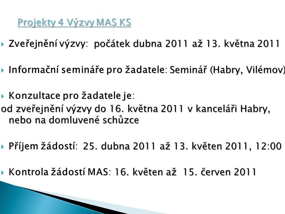 Projekty 4 Výzvy MAS KS Zveřejnění výzvy: počátek dubna 2011 až 13. května 2011. Informační semináře pro žadatele: Seminář (Habry, Vilémov)