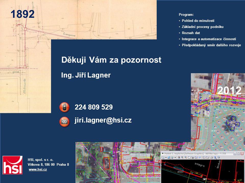 1892 2012 Děkuji Vám za pozornost Ing. Jiří Lagner 224 809 529