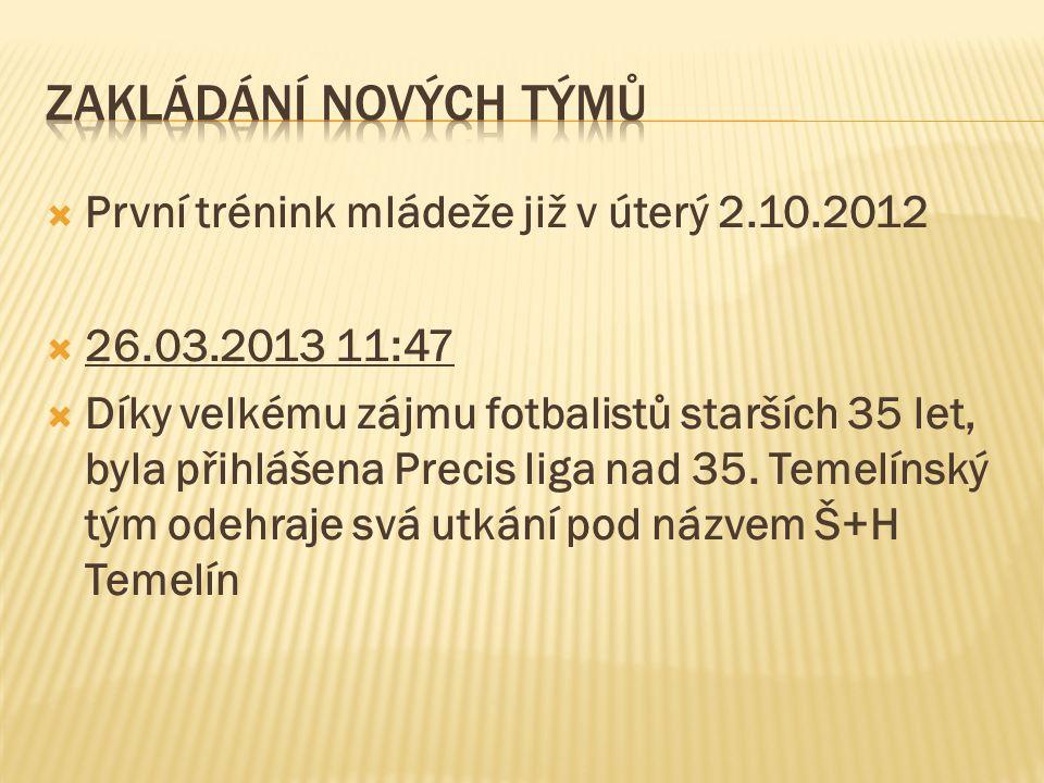 Zakládání nových týmů První trénink mládeže již v úterý 2.10.2012