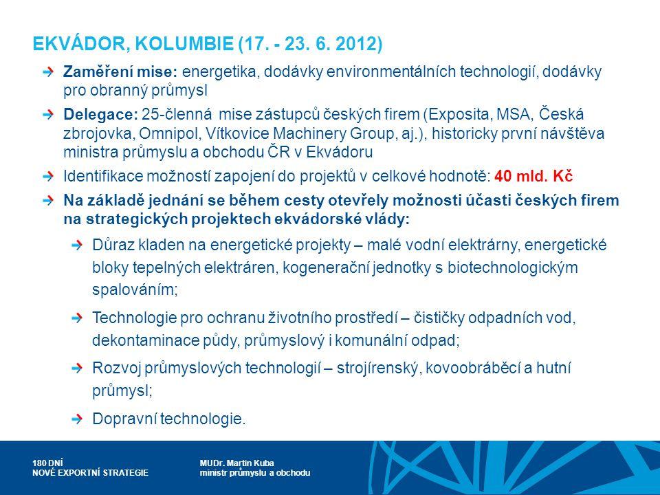 EKVÁDOR, KOLUMBIE (17. - 23. 6. 2012) Zaměření mise: energetika, dodávky environmentálních technologií, dodávky pro obranný průmysl.