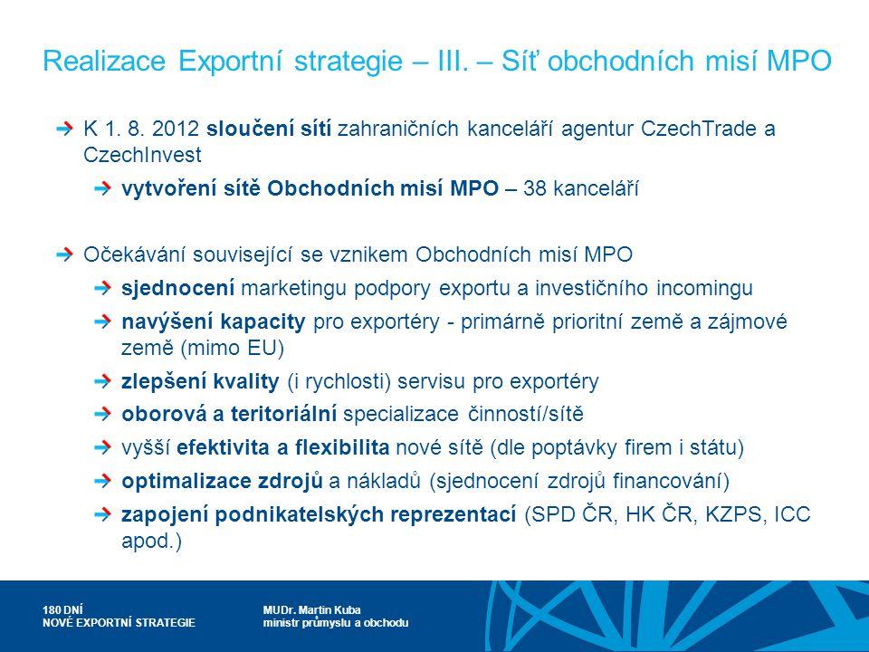 Realizace Exportní strategie – III. – Síť obchodních misí MPO
