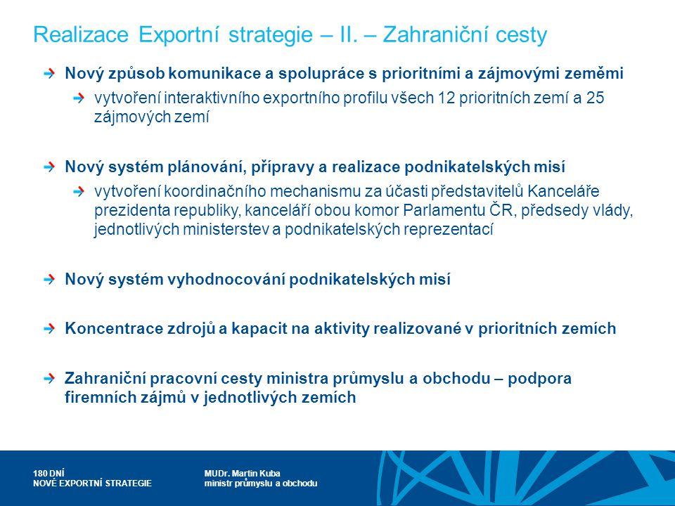 Realizace Exportní strategie – II. – Zahraniční cesty