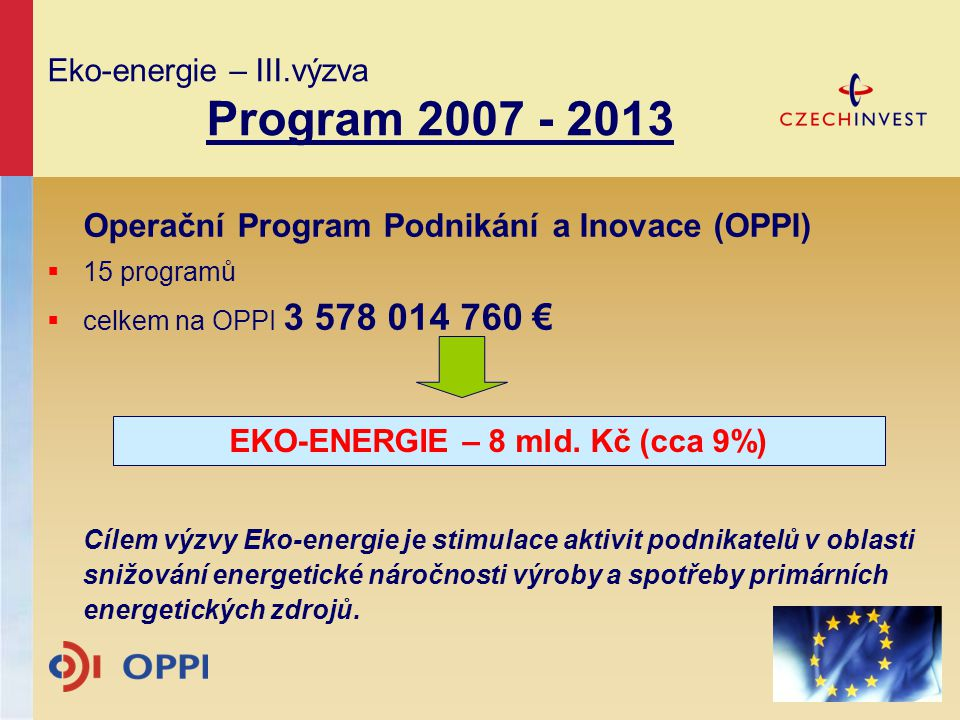 Eko-energie – III.výzva Program 2007 - 2013
