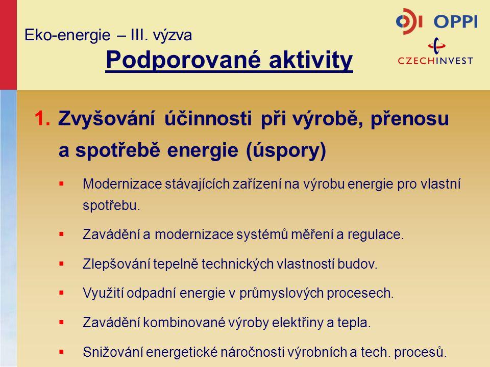 Eko-energie – III. výzva Podporované aktivity