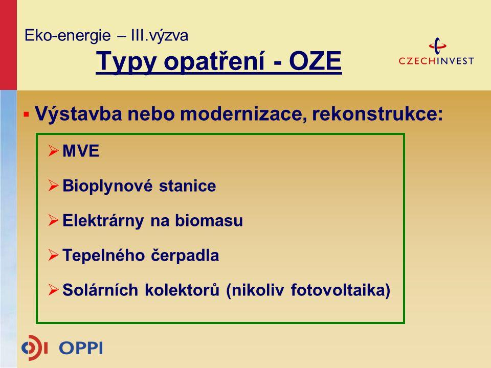 Eko-energie – III.výzva Typy opatření - OZE