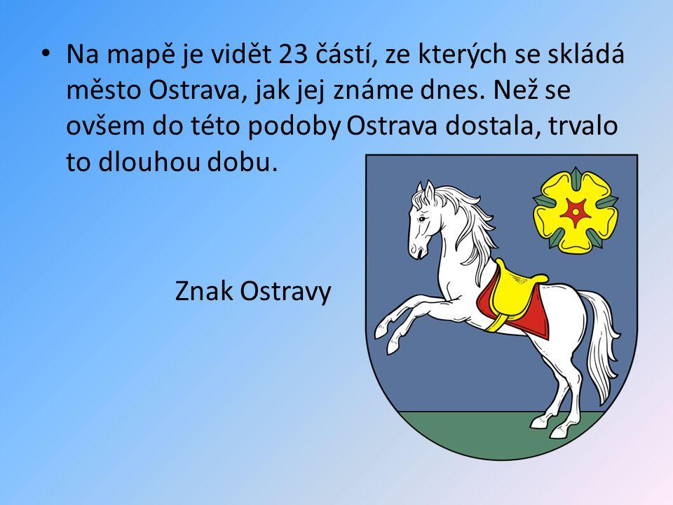 Na mapě je vidět 23 částí, ze kterých se skládá město Ostrava, jak jej známe dnes. Než se ovšem do této podoby Ostrava dostala, trvalo to dlouhou dobu.