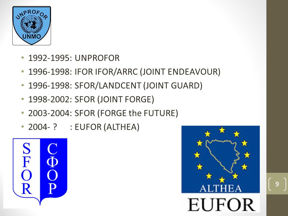 1992-1995: UNPROFOR 1996-1998: IFOR IFOR/ARRC (JOINT ENDEAVOUR) 1996-1998: SFOR/LANDCENT (JOINT GUARD)