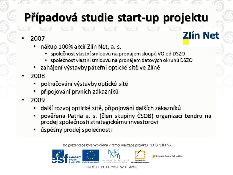 Případová studie start-up projektu