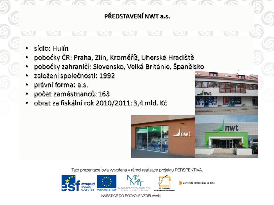 pobočky ČR: Praha, Zlín, Kroměříž, Uherské Hradiště