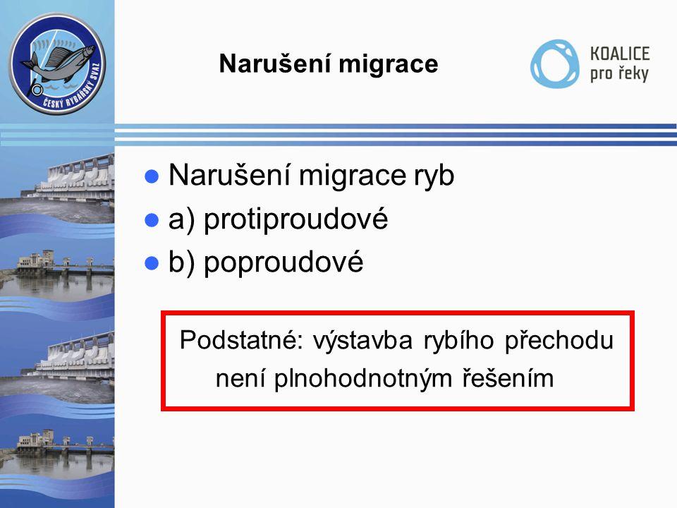 Narušení migrace ryb a) protiproudové b) poproudové Narušení migrace