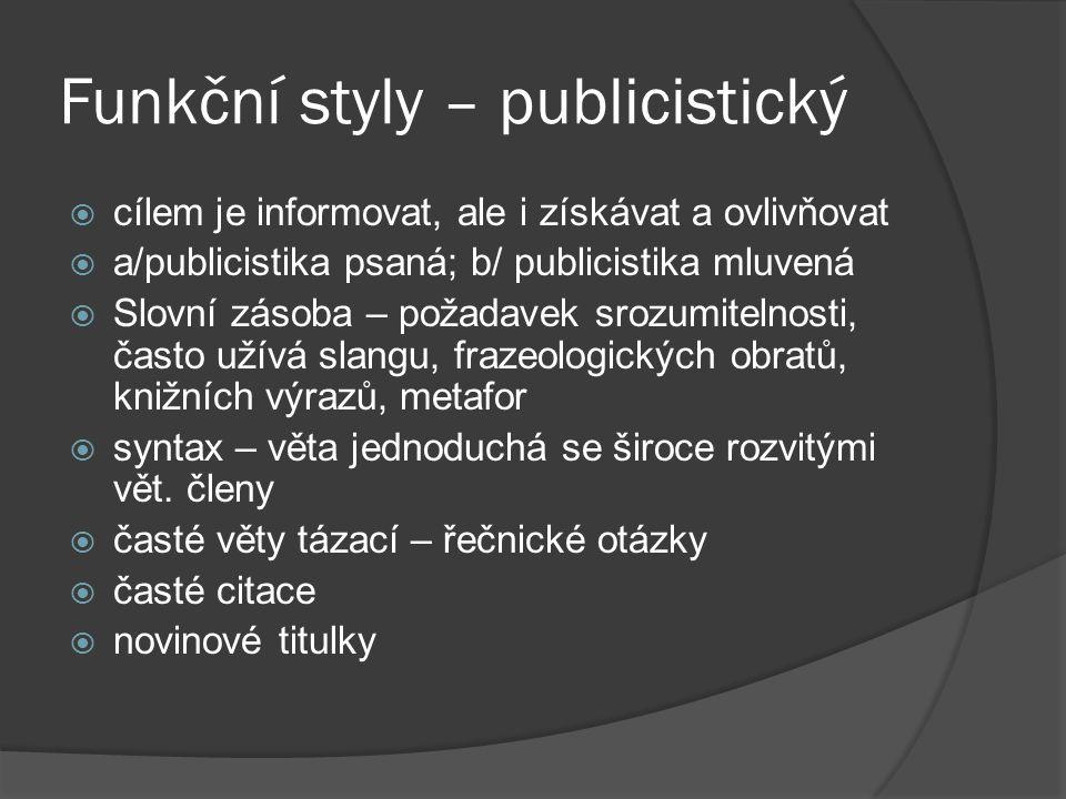 Funkční styly – publicistický