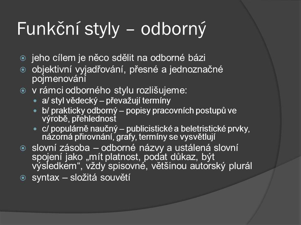 Funkční styly – odborný