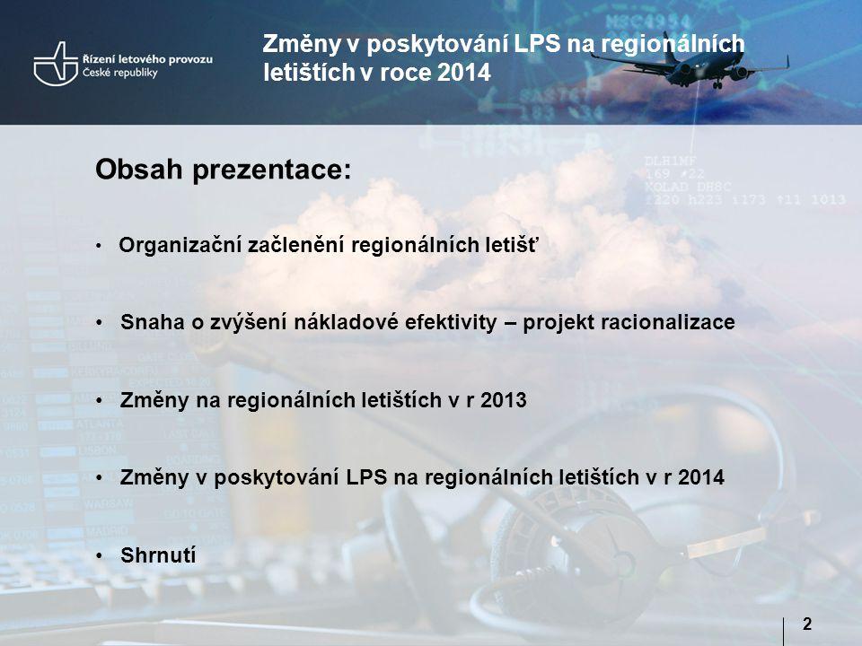 Změny v poskytování LPS na regionálních letištích v roce 2014
