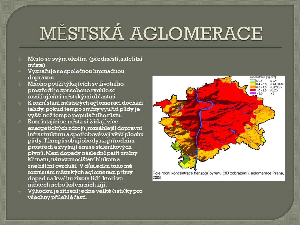 MĚSTSKÁ AGLOMERACE Město se svým okolím (předměstí, satelitní města)