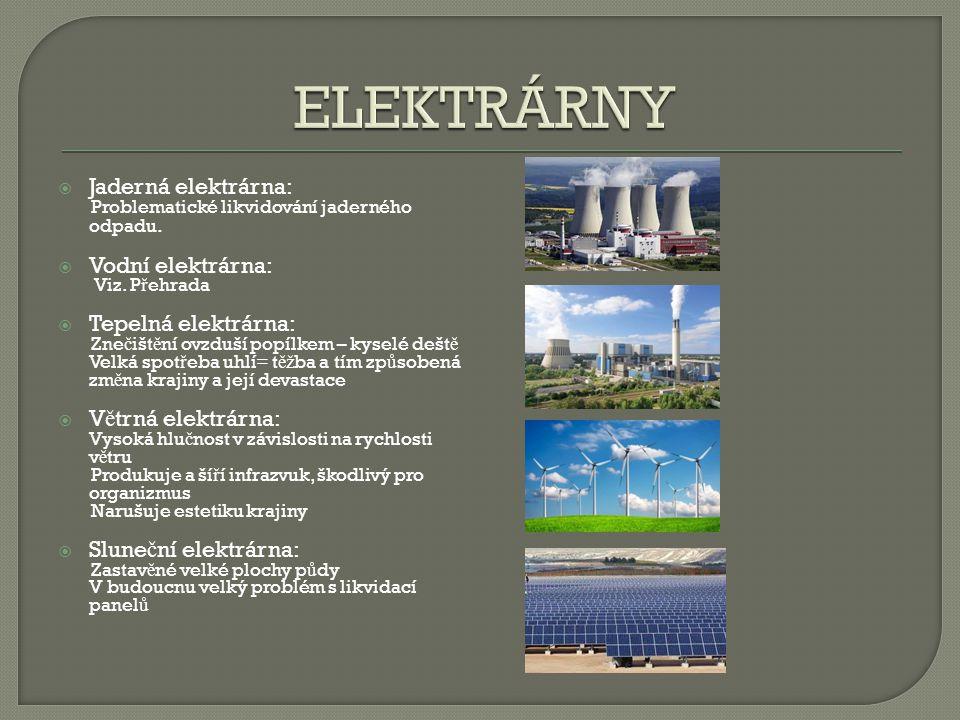 ELEKTRÁRNY Jaderná elektrárna: Vodní elektrárna: Tepelná elektrárna: