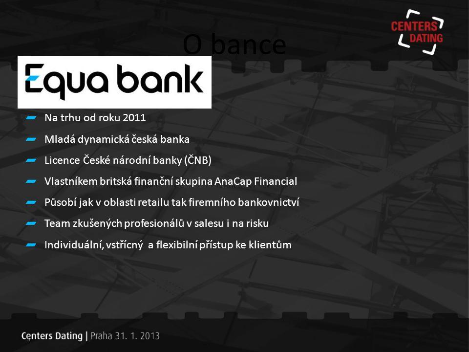 O bance Na trhu od roku 2011 Mladá dynamická česká banka