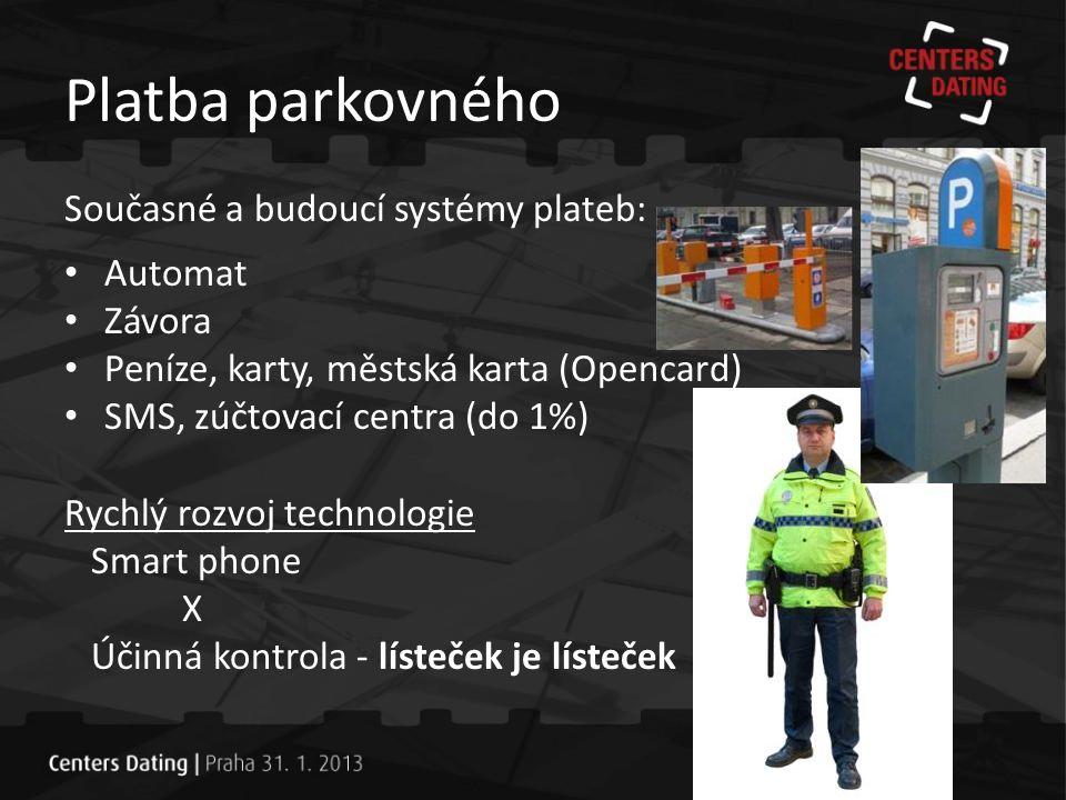 Platba parkovného Současné a budoucí systémy plateb: Automat Závora