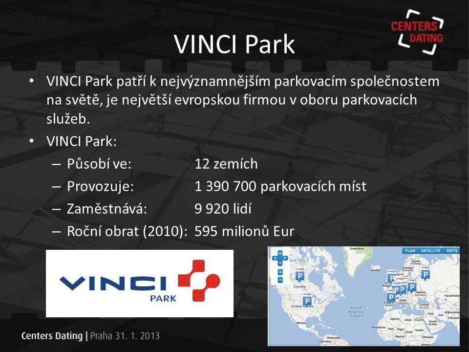 VINCI Park VINCI Park patří k nejvýznamnějším parkovacím společnostem na světě, je největší evropskou firmou v oboru parkovacích služeb.
