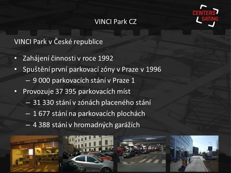 VINCI Park CZ VINCI Park v České republice. Zahájení činnosti v roce 1992. Spuštění první parkovací zóny v Praze v 1996.