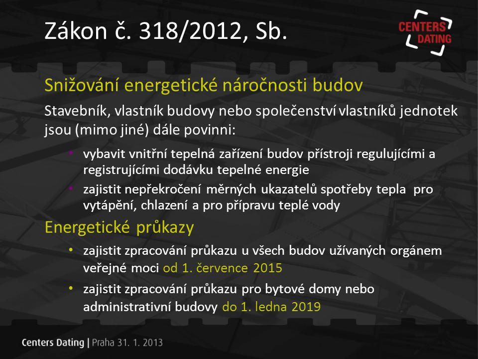 Zákon č. 318/2012, Sb. Snižování energetické náročnosti budov